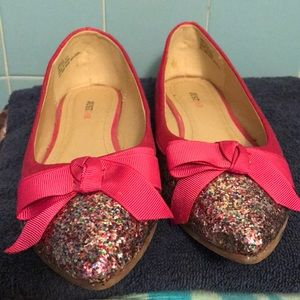 JustFab pink sparkle pointed toe flats.
